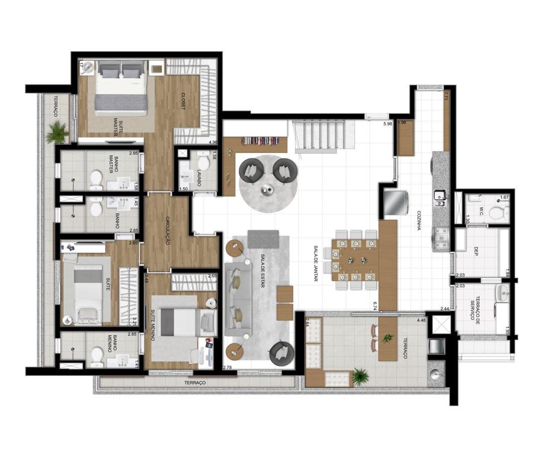 Cobertura de 311m² privativos - 3 suítes - Sala ampliada com Cozinha americana (Pavimento Inferior)
