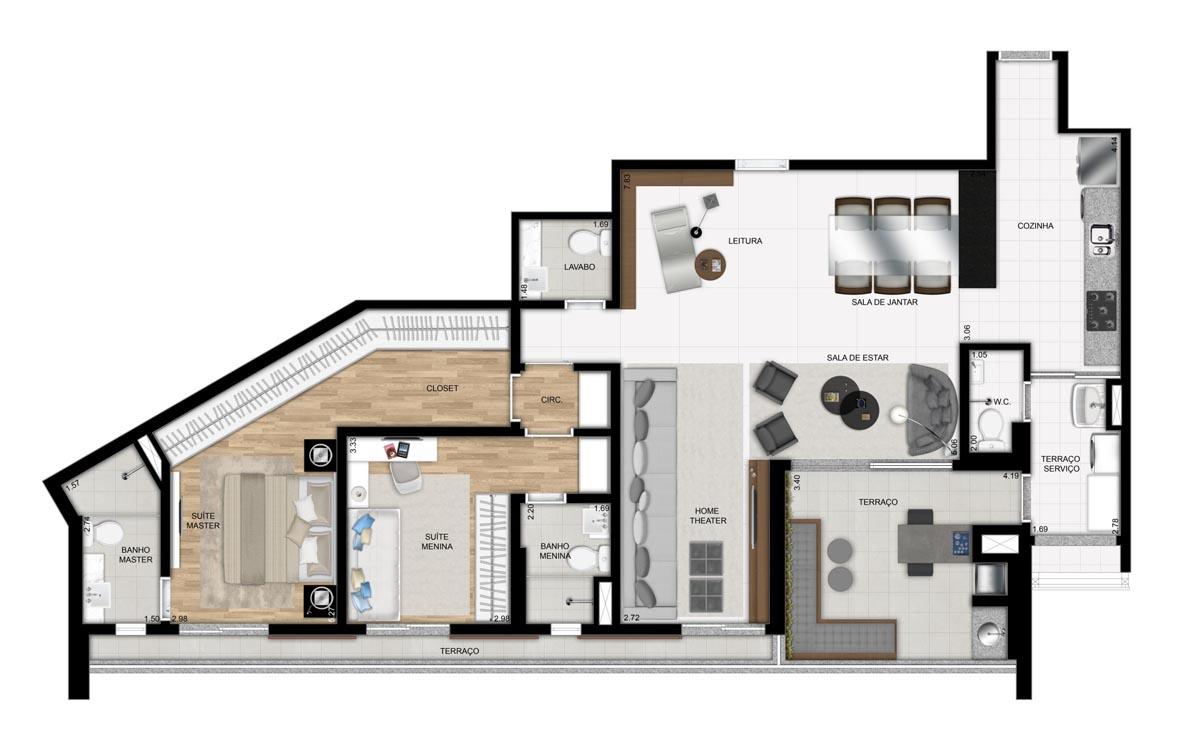 Apartamento de 128m² privativos - 2 suítes - sala ampliada com Cozinha americana