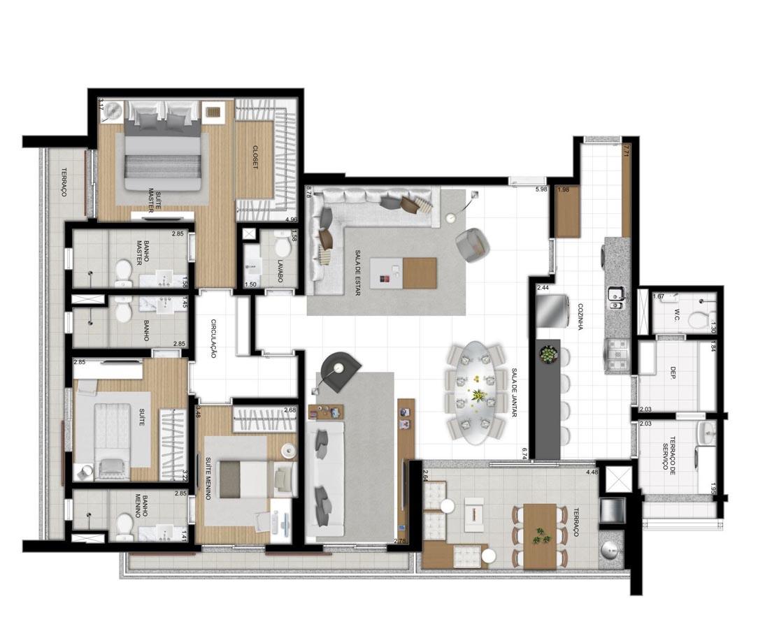 Apartamento de 157m² privativos - 3 suítes - Sala ampliada