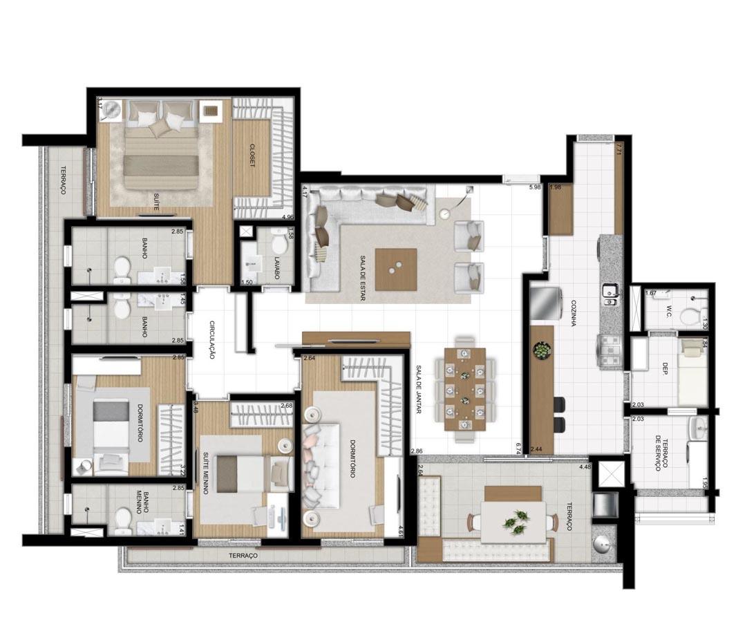 Apartamento de 157m² privativos - 4 Dorms (2 suítes)