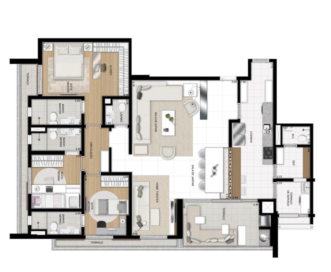 Apartamento de 157m² privativos - 3 suítes - Sala ampliada e Cozinha americana