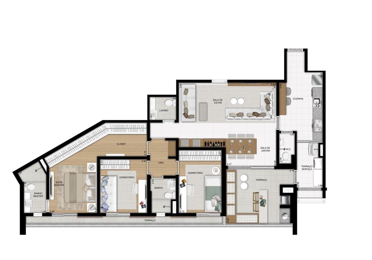 Apartamento de 128m² privativos - 3 Dorms (1 suíte)