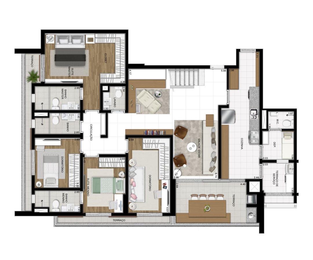 Cobertura de 311m² privativos - 4 Dorms (2 suítes)