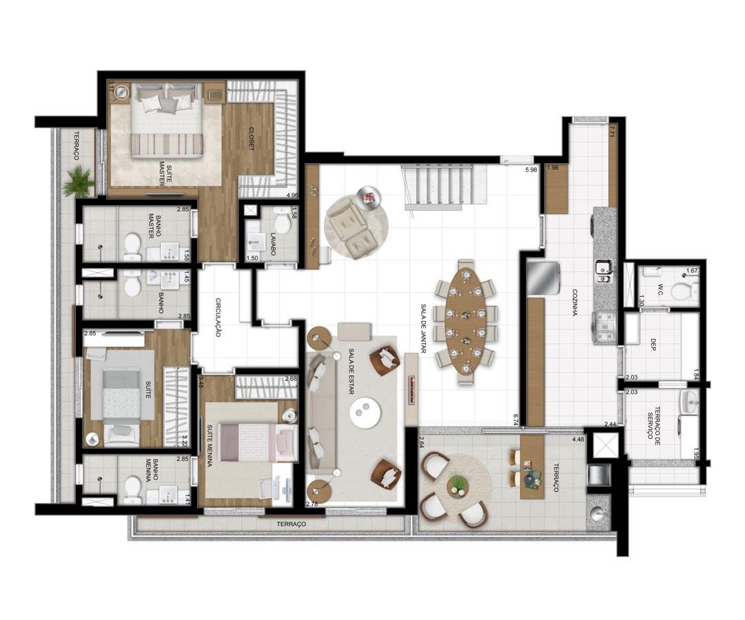 Cobertura de 311m² privativos - 3 suítes - Sala ampliada (Pavimento inferior)