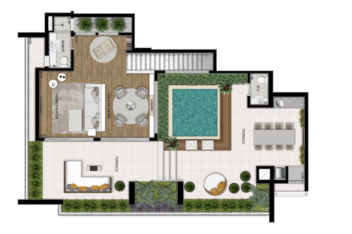 Cobertura de 311m² privativos - Sala ampliada (Pavimento superior)