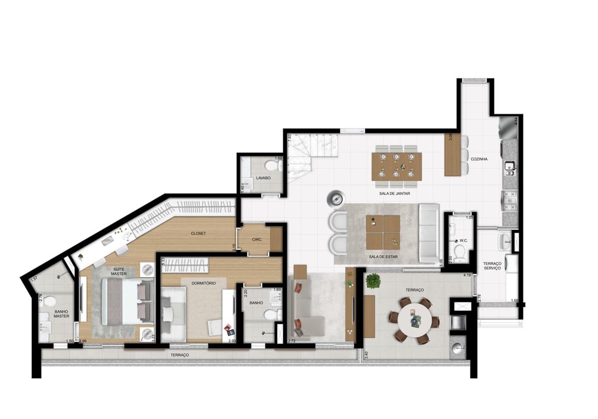 Cobertura de 252m² privativos - 2 suítes - Sala ampliada e Cozinha americana (Pavimento inferior)