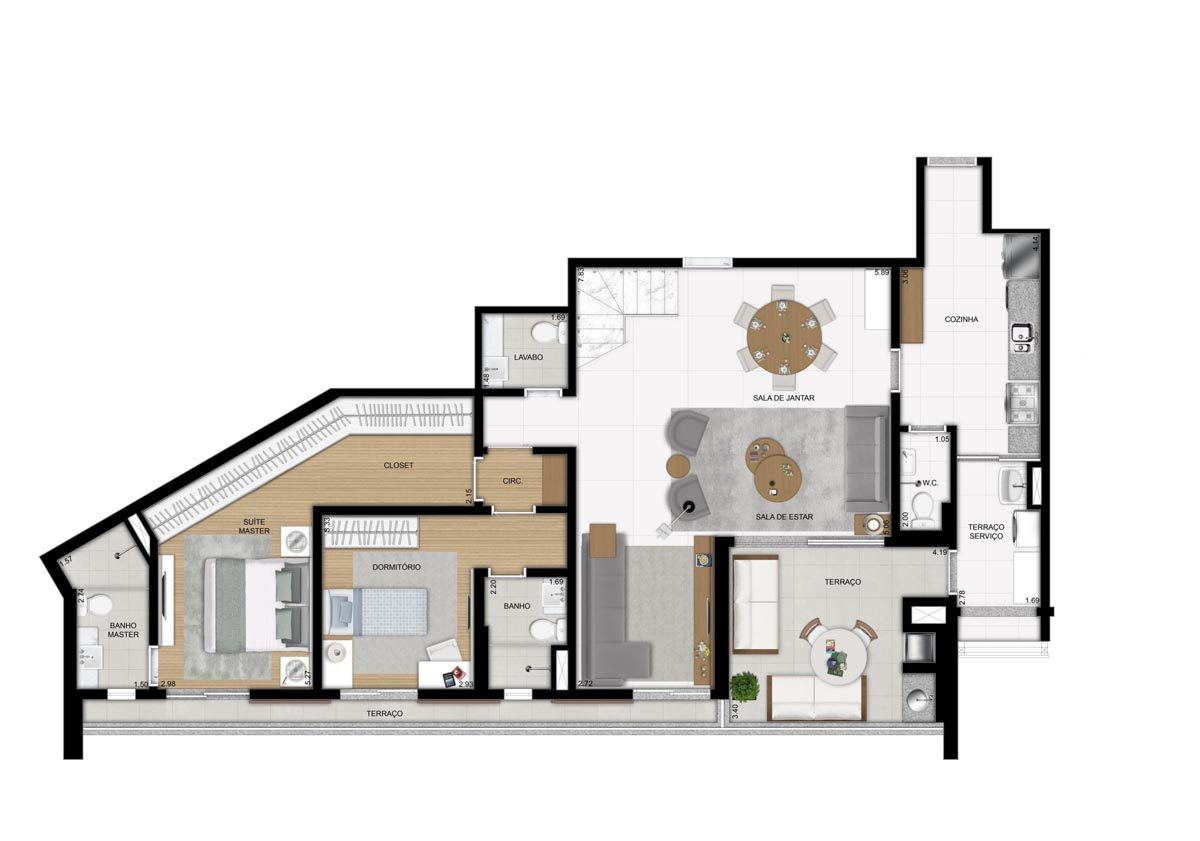 Cobertura de 252m² privativos - 2 suítes - Sala ampliada - pavimento inferior