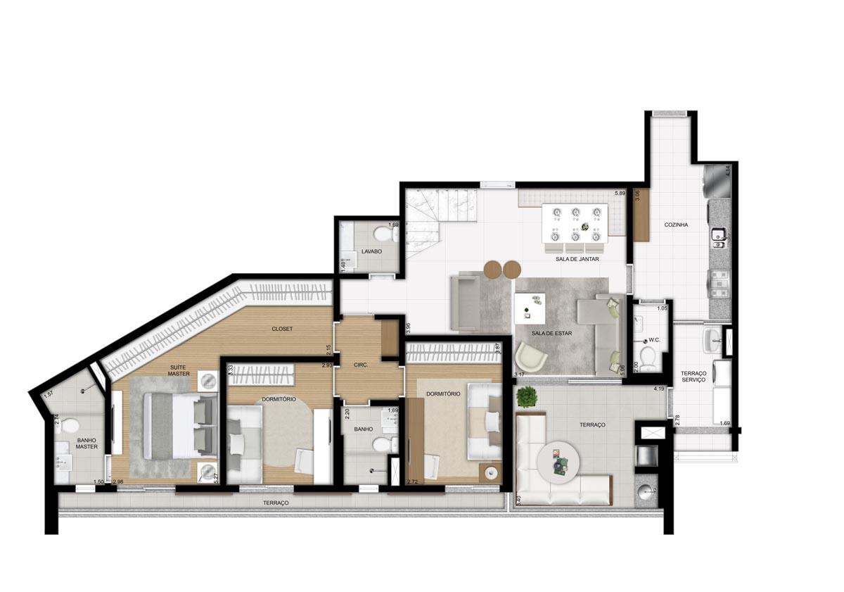 Cobertura de 252m² privativos - 3 Dorms (1 suíte) - Pavimento inferior