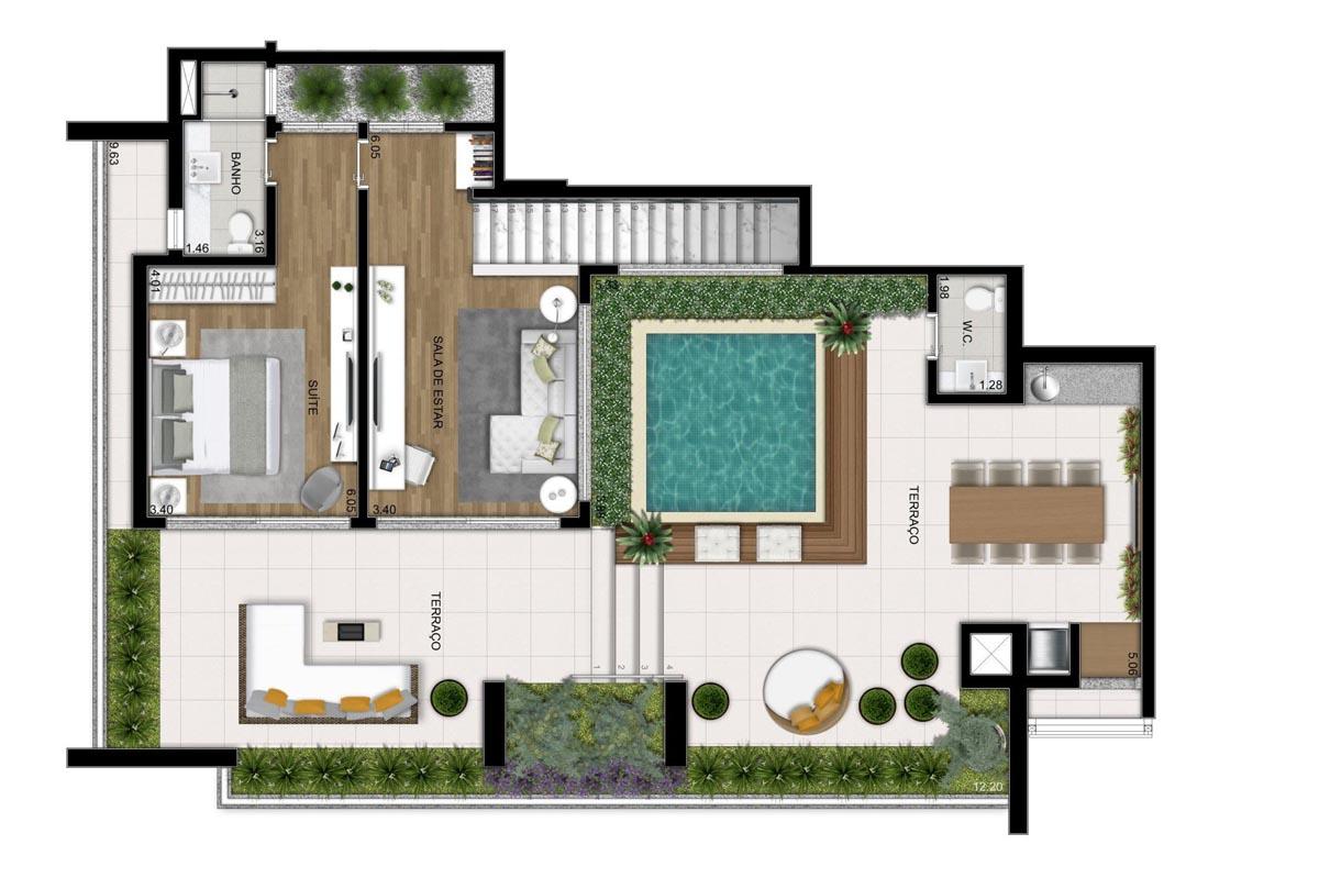 Cobertura de 311m² privativos - 3 suítes - 1 suíte e Sala de jantar (Pavimento superior)