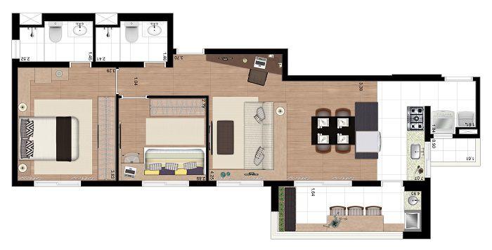 Apartamento de 73m² privativos - 2 Dorms (1 suíte) com cozinha aberta