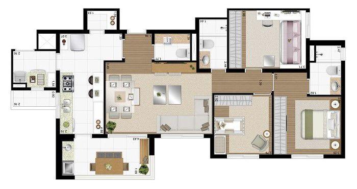 Apartamento de 94m² privativos - 3 Dorms (1 suíte) e cozinha fechada