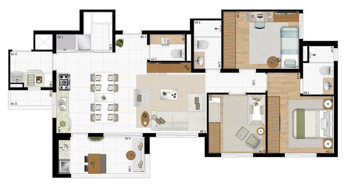 Apartamento de 94m² privativos - 3 Dorms (1 suíte) e cozinha aberta