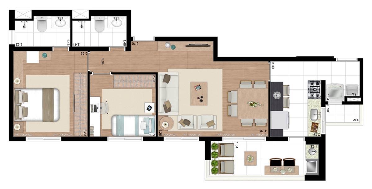 Apartamento de 73m² privativos - 2 Dorms (1 suíte) com cozinha fechada