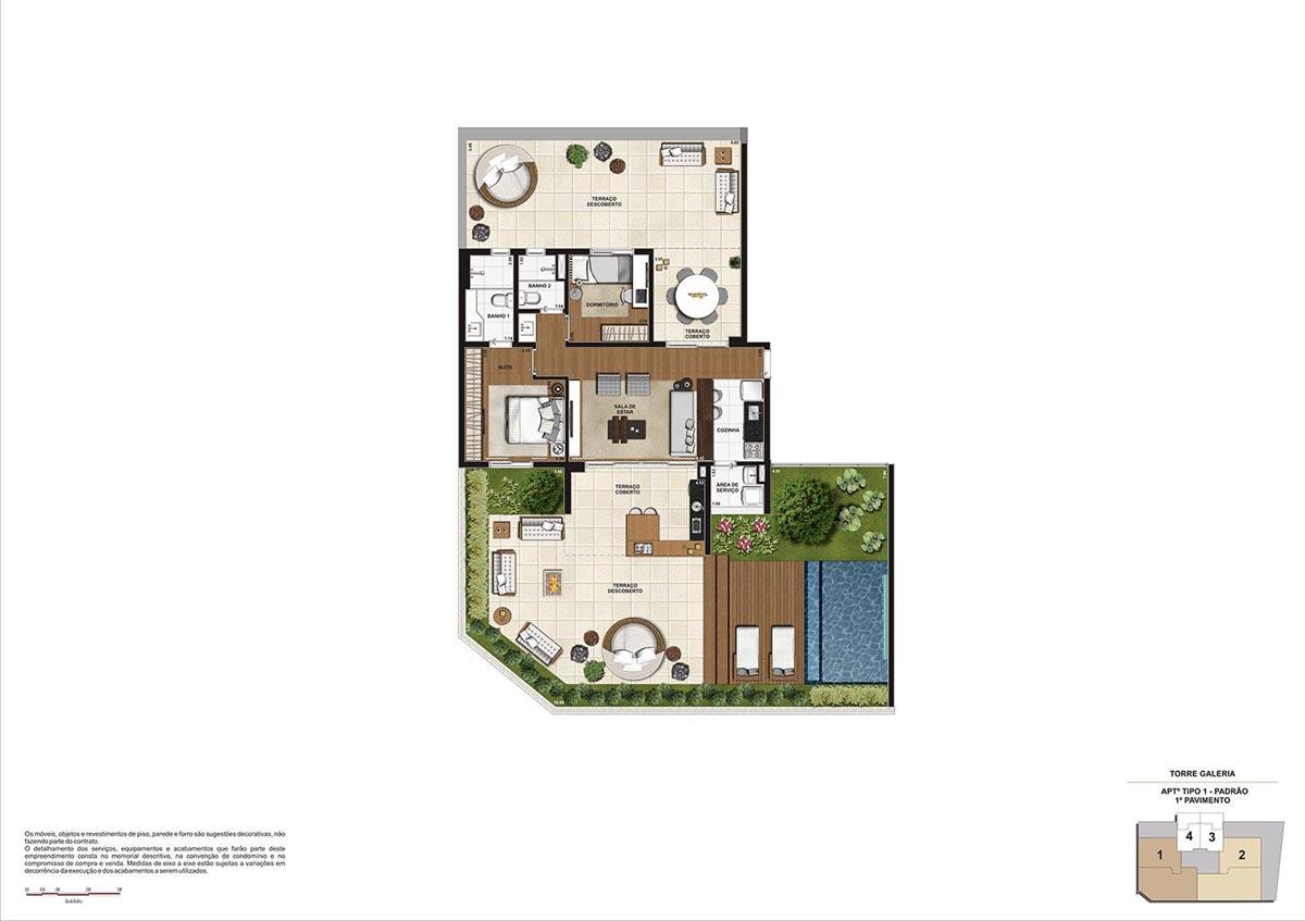 209 m² \ Planta Padrão  - Torre Galeria 1º pavimento - Final 01