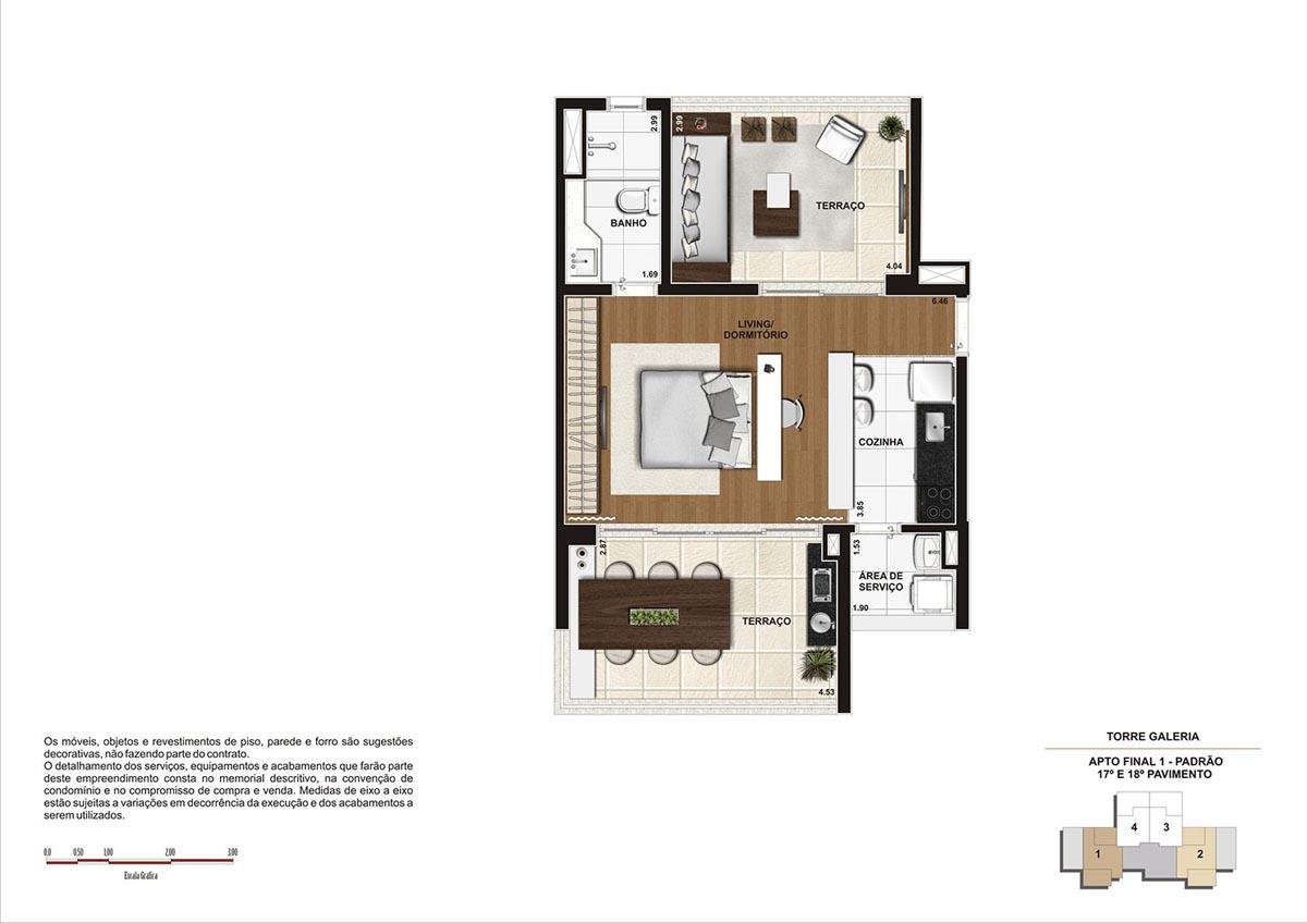 60 m² \ Planta Padrão  - Torre Galeria 17º e 18º pavimento - Final 01