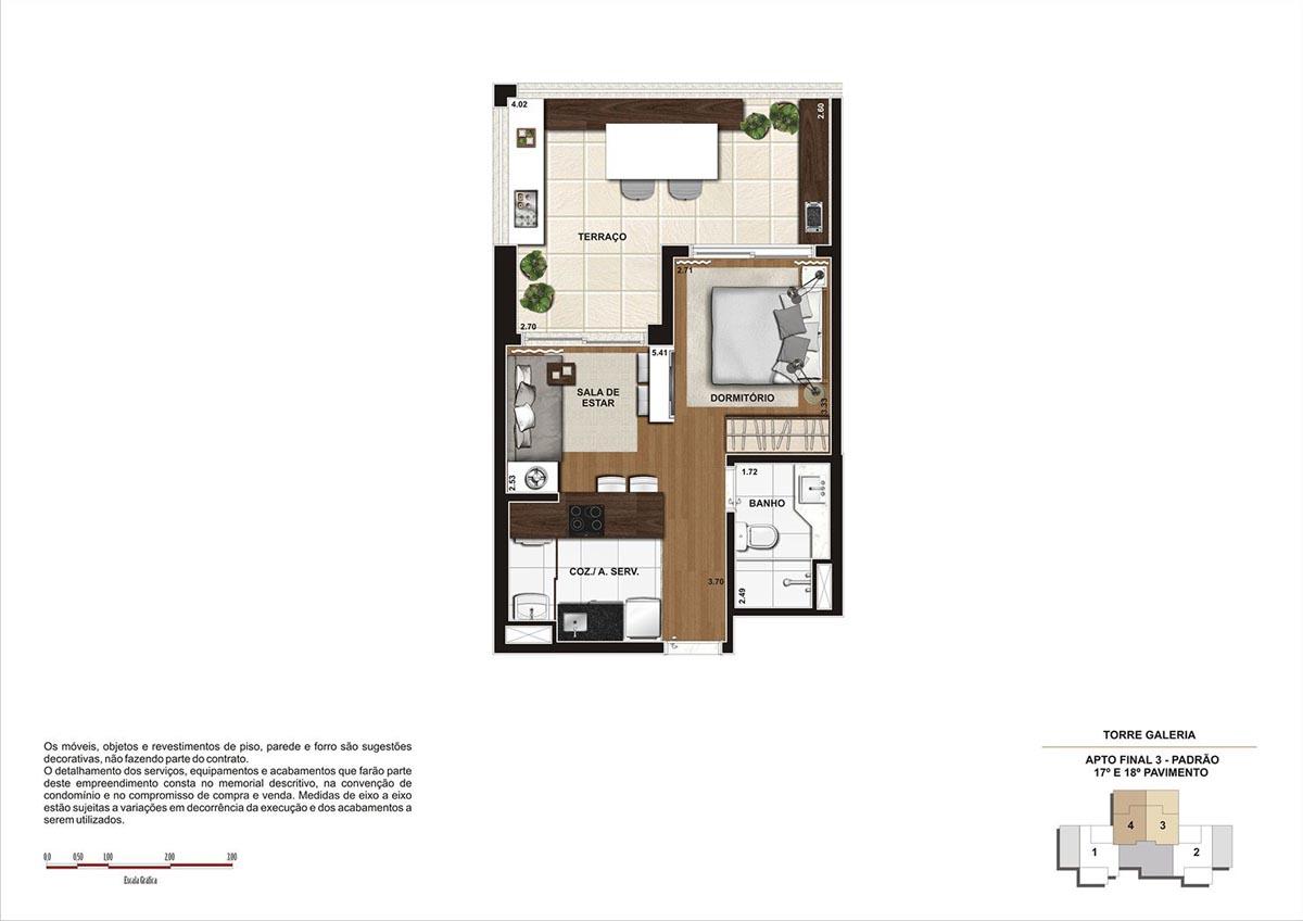 49 m² \ Planta Padrão  - Torre Galeria 1º ao 18º pavimento - Final 04