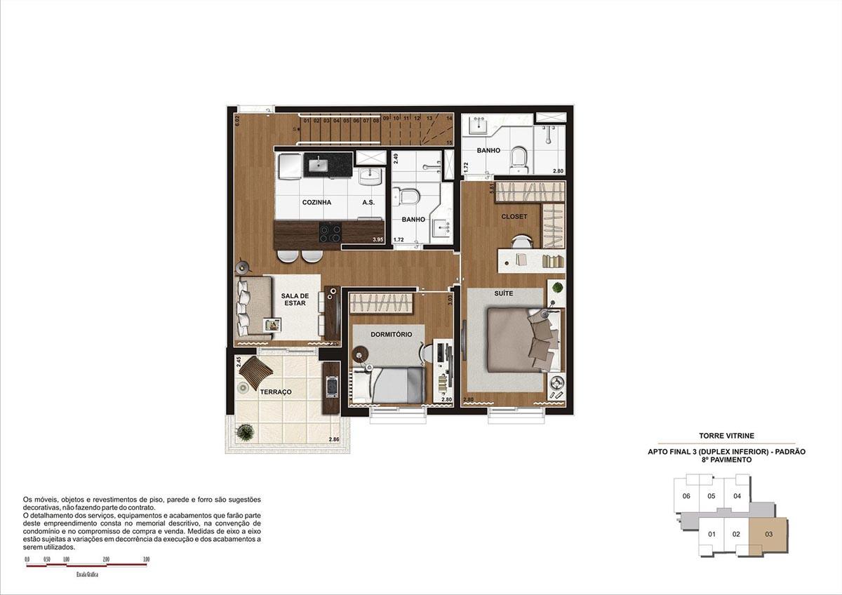 119 m² \ Planta Duplex Inf. - Padrão - Torre Vitrine 8º pavimento - Final 03