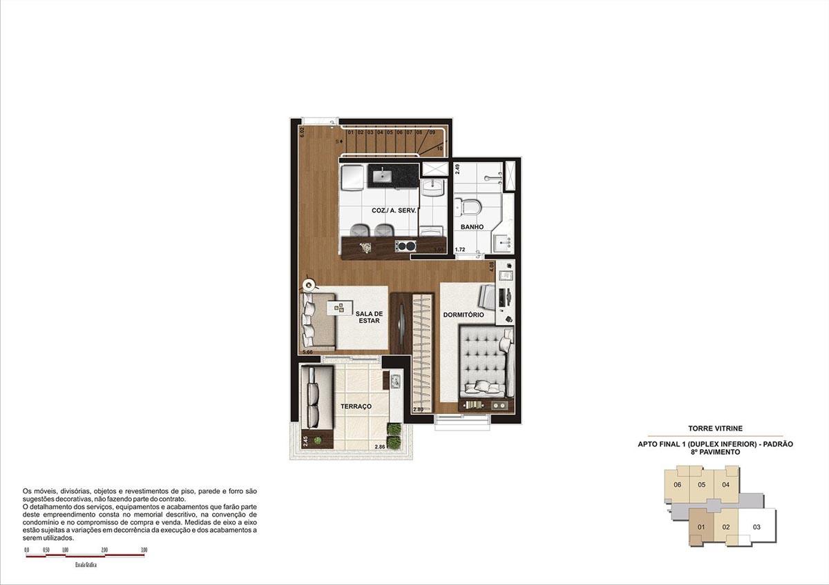 75 m² \ Planta Duplex Inf. Padrão  - Torre Vitrine 8º pavimento - Final 01