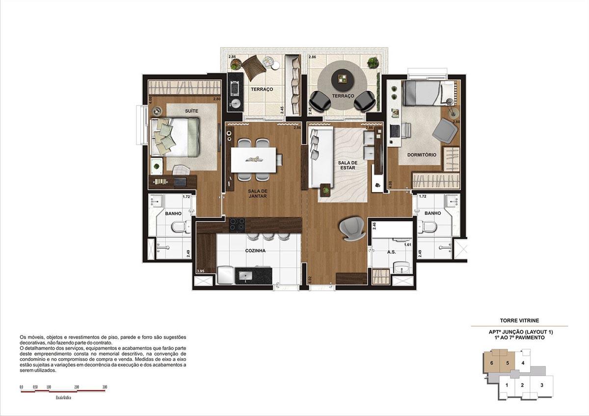 90 m² \ Planta junção - finais 5 e 6 - Torre Vitrine do 1º ao 7º pavimento