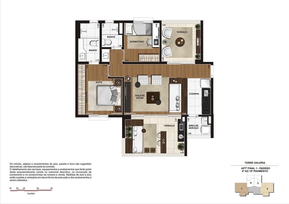 84 m² \ Planta Padrão  - Torre Galeria do 2º ao 15º pavimento - Final 01