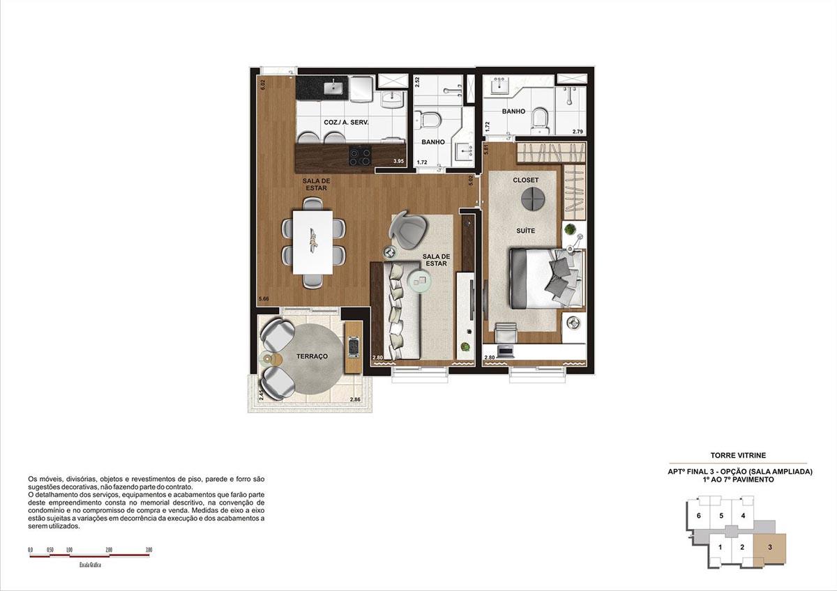 68 m² \ Planta  Opção Sala Ampliada  - Torre Vitrine do 1º ao 7º pavimento - Final 03