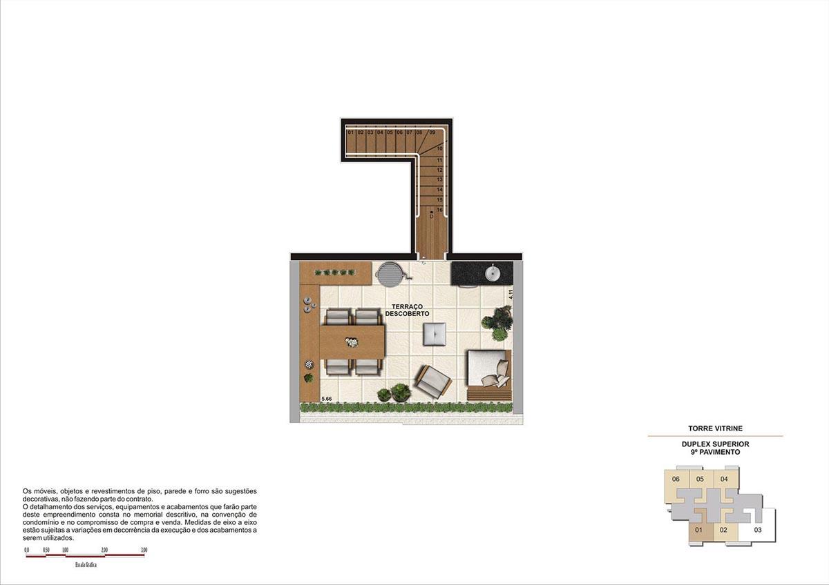 75 m² \ Planta Duplex Sup. Padrão  - Torre Vitrine 9º pavimento