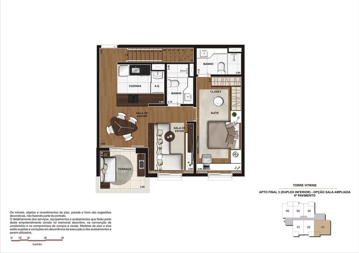 119 m² \ Planta Duplex Inf. - Opção sala ampliada  - Torre Vitrine 8º pavimento - Final 03