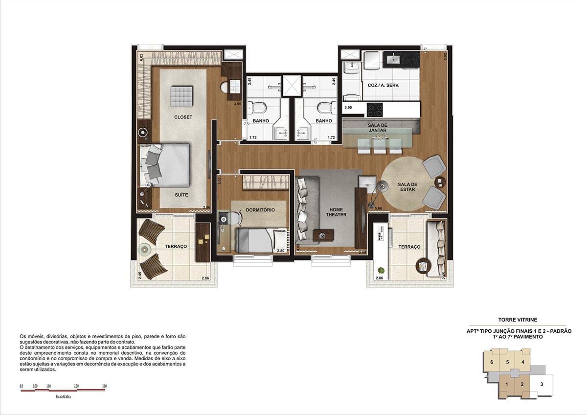 90 m² \ Planta junção - Padrão  - Torre Vitrine do 1º ao 7º pavimento - Final 01 e 02
