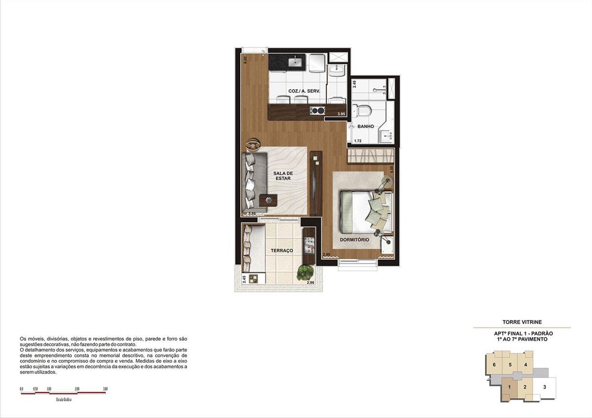 44 m² \ Planta Padrão  - Torre Vitrine 1º ao 7º pavimento - Final 01