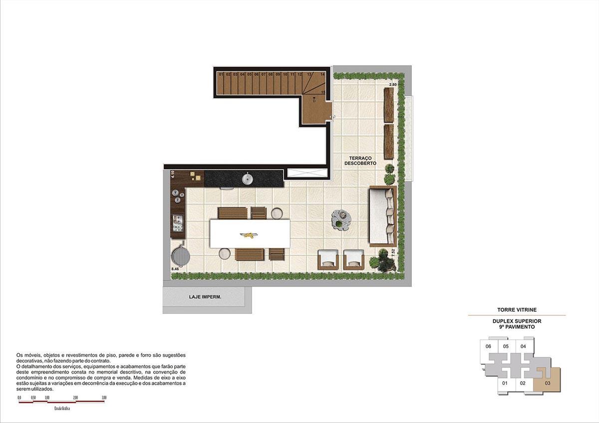 119 m² \ Planta Duplex Sup. - Opção sala ampliada  - Torre Vitrine 9º pavimento - Final 03