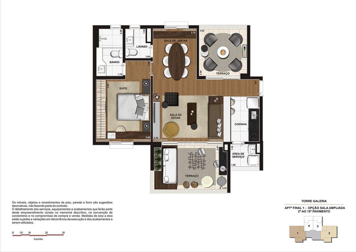 84 m² \ Planta Opção Sala Ampliada  - Torre Galeria do 2º ao 15º pavimento - Final 01