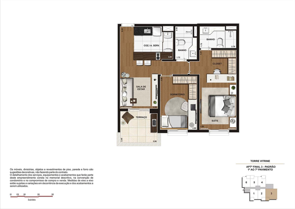 68 m² \ Planta Padrão  - Torre Vitrine do 1º ao 7º pavimento - Final 03