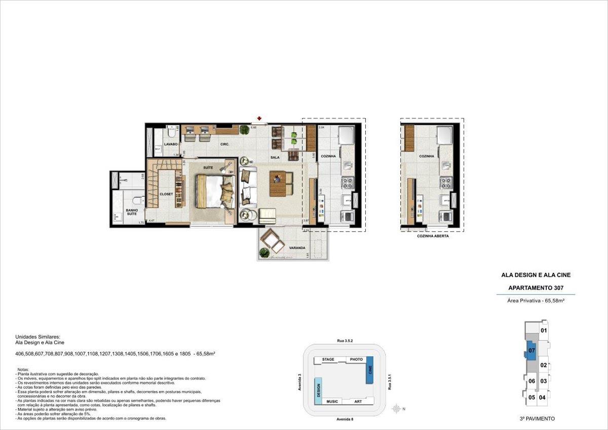 65m² / Planta padrão com opção de cozinha aberta