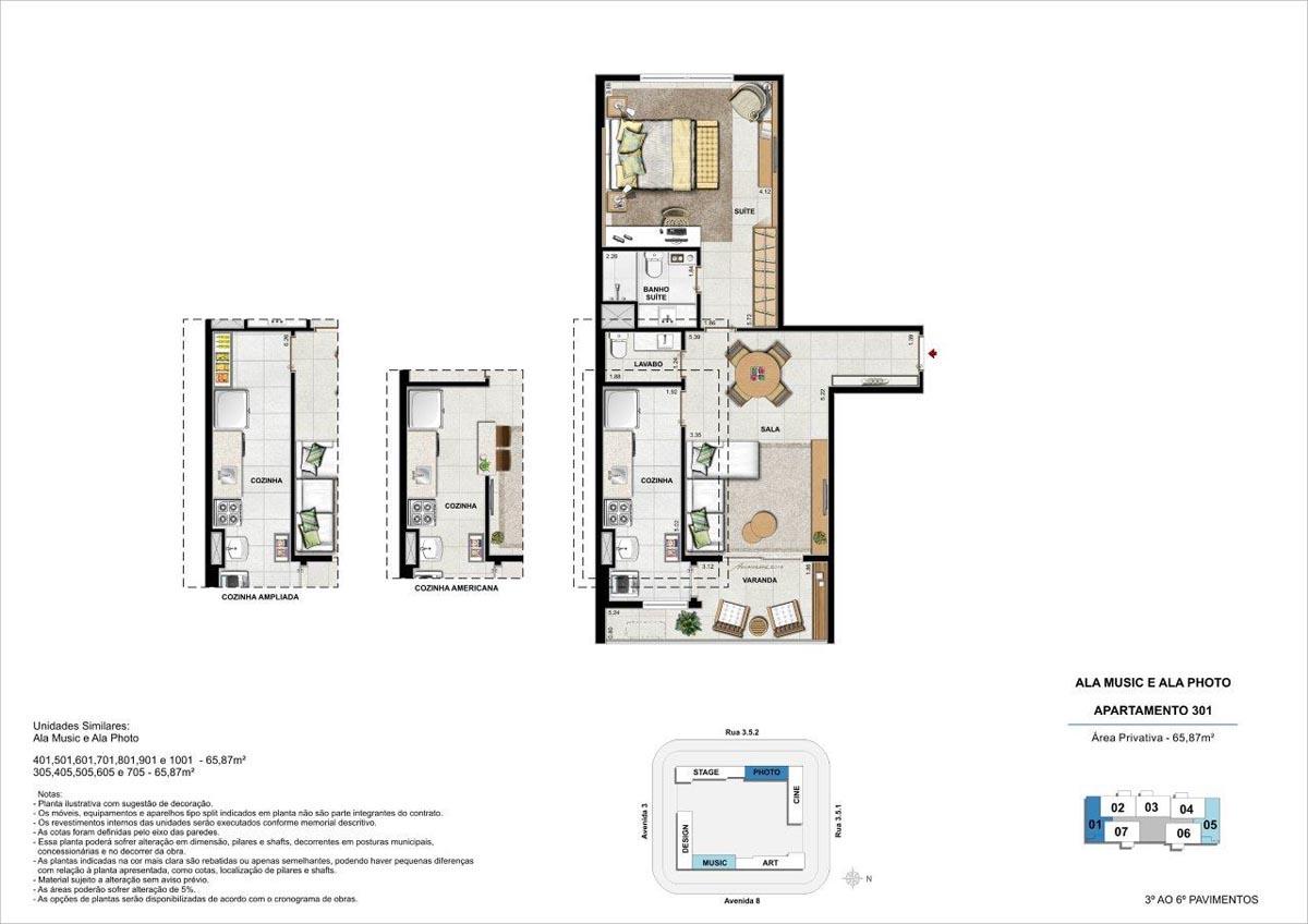 65m² / Planta padrão com opções de cozinha americana e cozinha ampliada