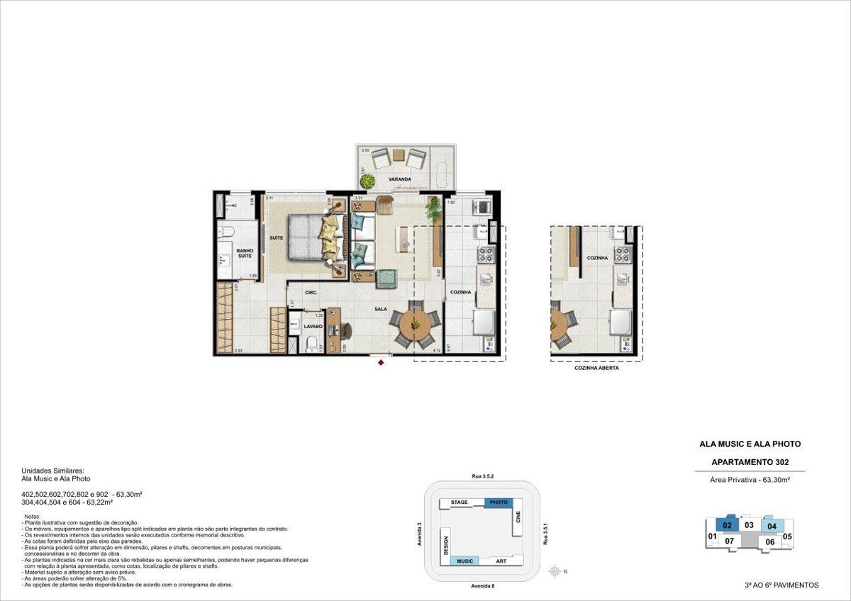 63m² / Planta padrão com opção de cozinha aberta