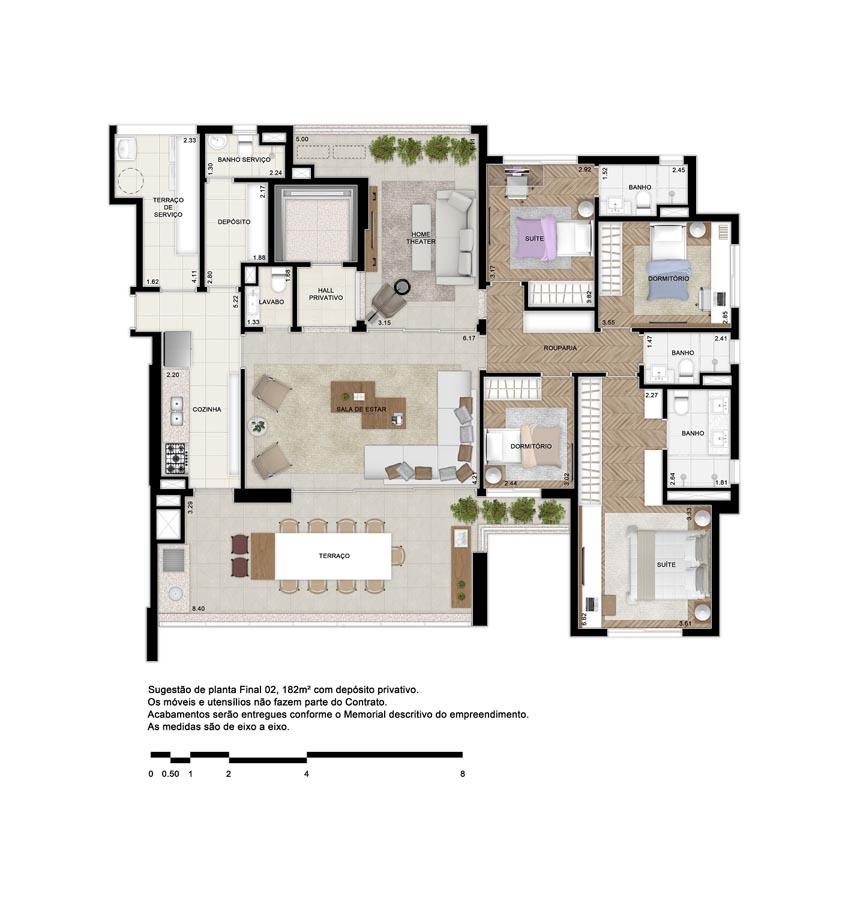 182m² priv. - 4 dormitórios (2 suítes). Opção Home Theater com sala de jantar no terraço