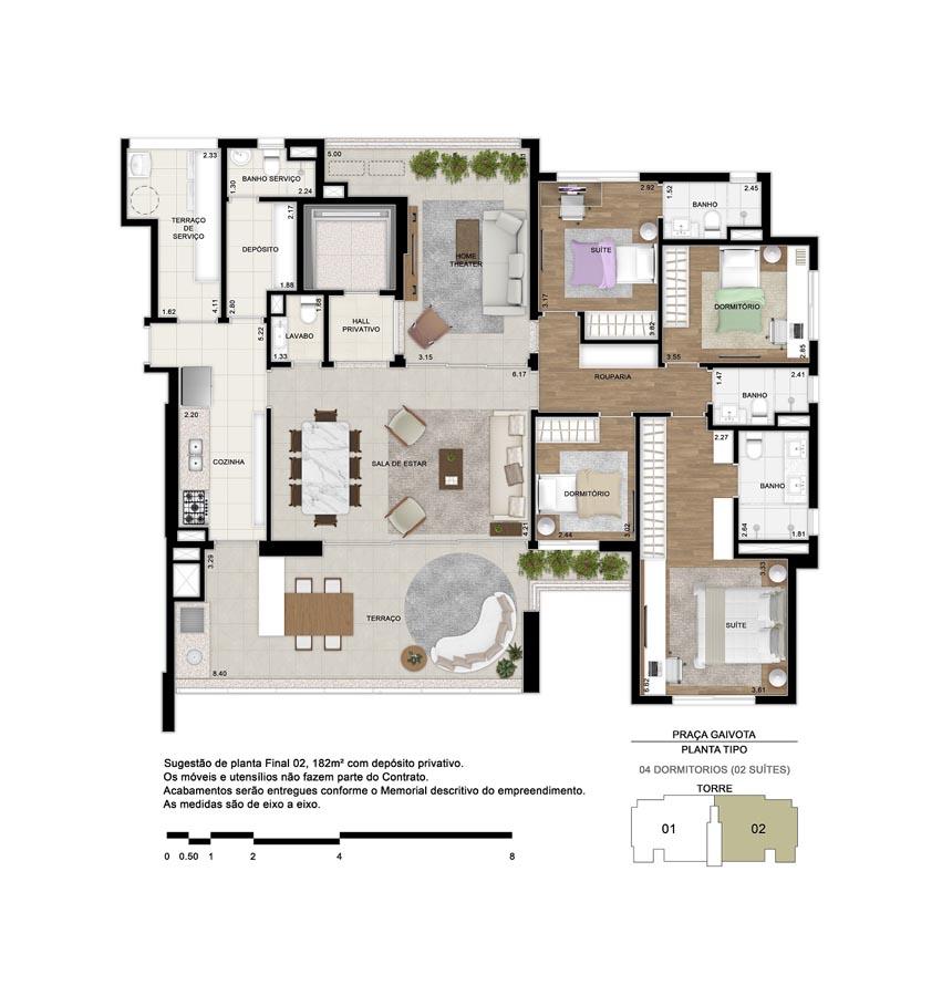 Planta de 182m² priv. - 4 dormitórios (2 suítes). Apartamento tipo. Living com ambientes de estar e jantar