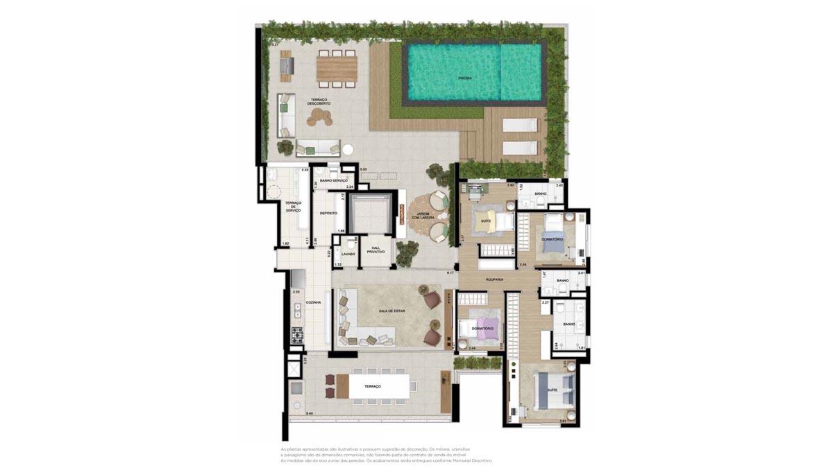 Planta Giardino de 292m² priv. - 4 dormitórios (3 suítes)