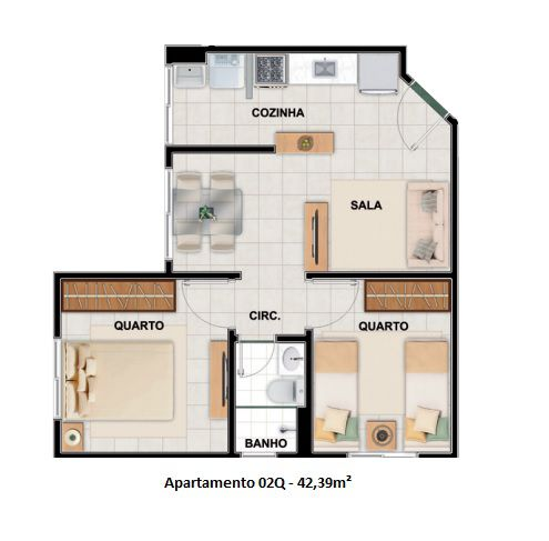 42 m² - Planta referente à unidade 101 do Bloco 1