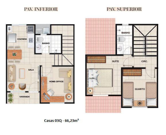 66 m² - Plantas referentes à unidade 1