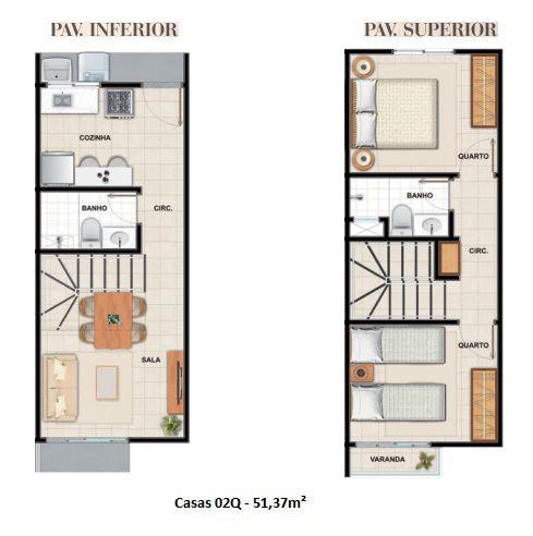 51 m² - Plantas referentes à unidade 3