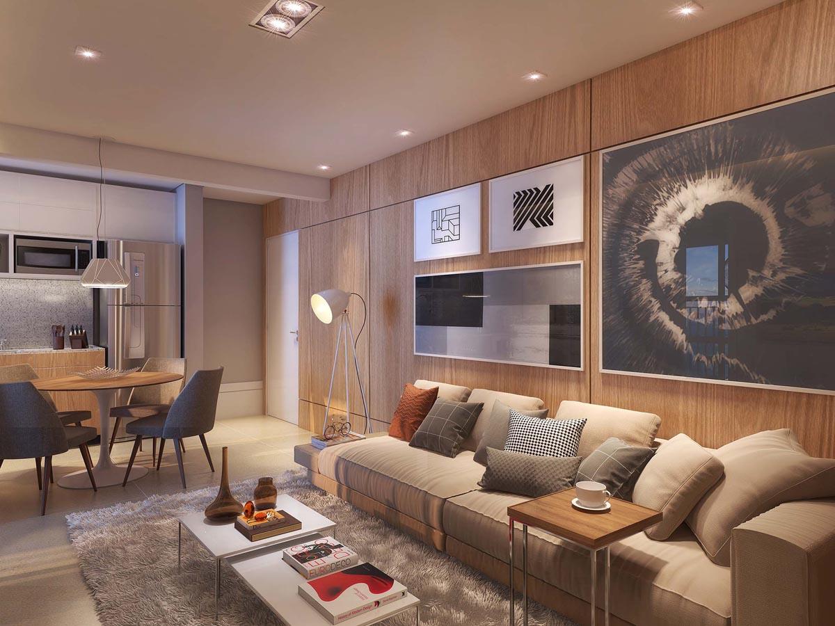 Perspectiva ilustrada do Living Decorado e Ampliado com a Cozinha Aberta do apartamento de 60 m²