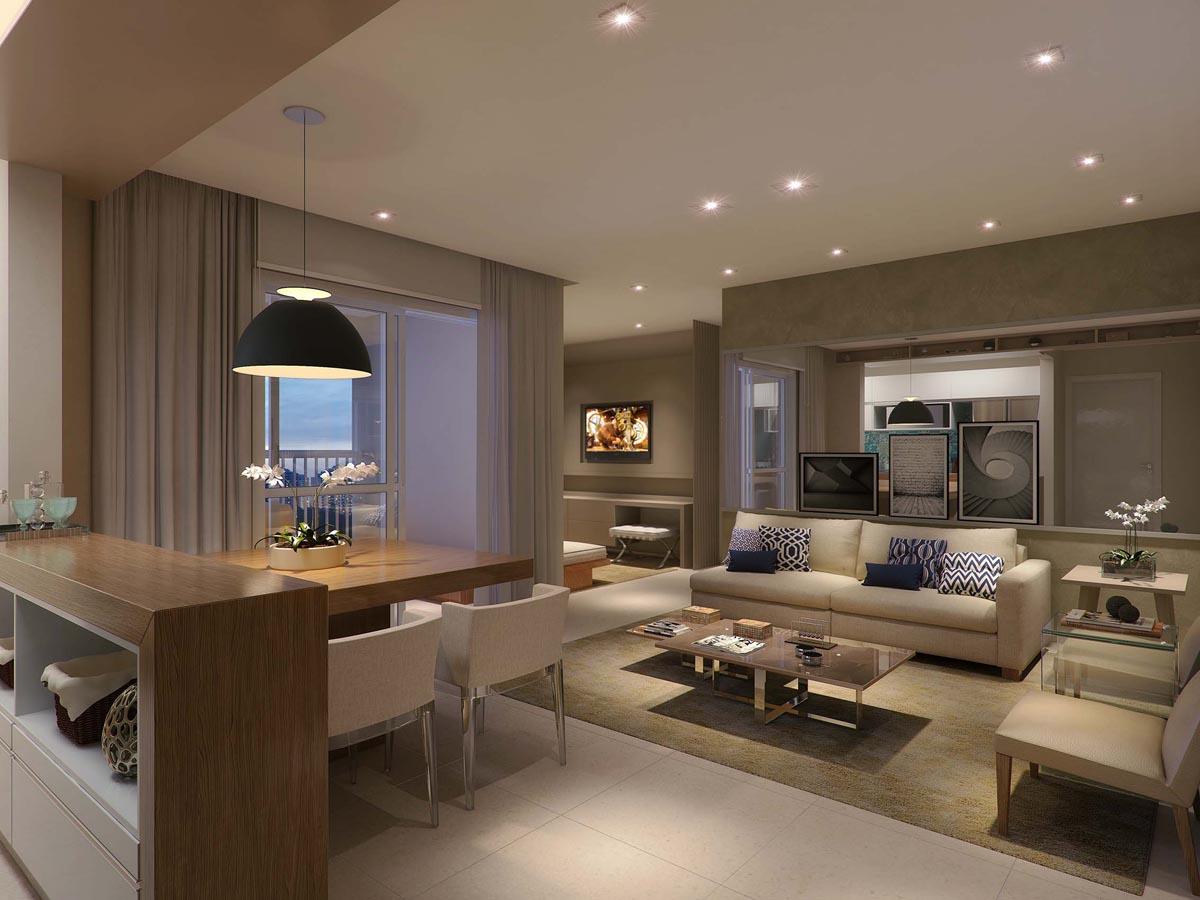 Perspectiva ilustrada do Living Decorado com Sala Ampliada e Cozinha Aberta do apartamento de 72 m²