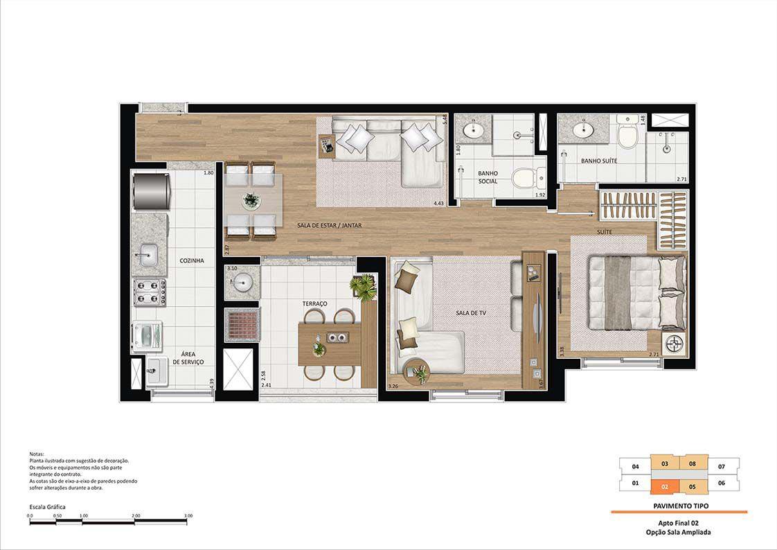 Planta ilustrada de 60 m². A churrasqueira e a bancada no terraço são itens opcionais e deverão ser contratados através do Tegra ID.