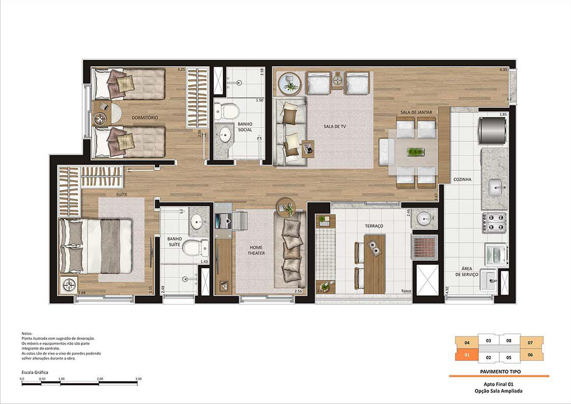 Planta ilustrada de 72 m². A churrasqueira e a bancada no terraço são itens opcionais e deverão ser contratados através do Tegra ID.