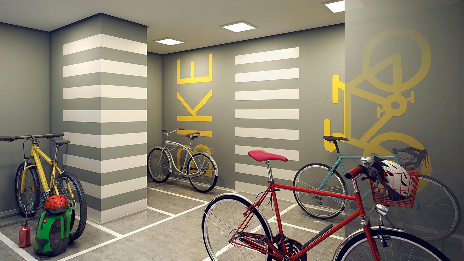 Perspectiva ilustrada do Bicicletário Decorado na Garagem.