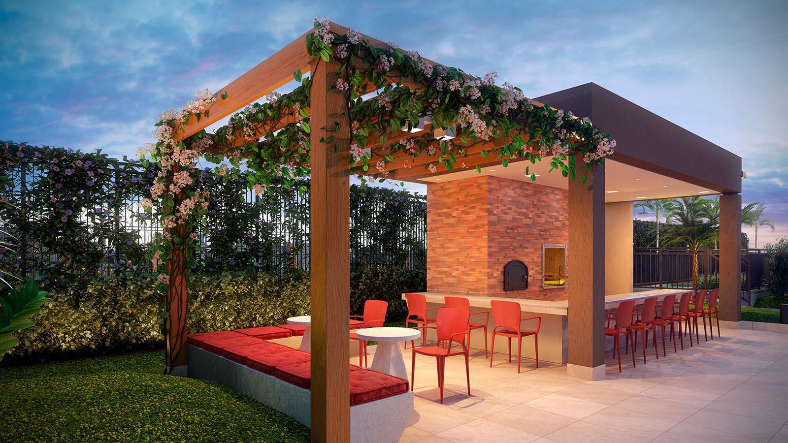 Perspectiva ilustrada do Garden Gourmet com Churrasqueira e Forno para Pizza.