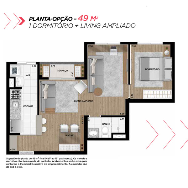 Planta opção sala ampliada de 49m² priv.