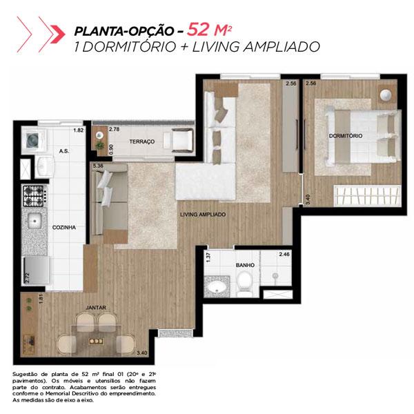 Planta opção sala ampliada de 52m² priv.