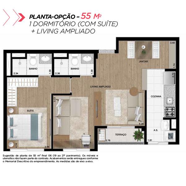 Planta opção sala ampliada de 55m² priv.
